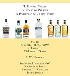 Invite to TEW's Craft Spirits Portfolio Launch