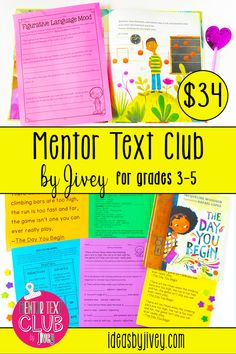 Pin Description: I am so excited to offer this club to upper elementary teachers who love to use newer-released picture books as mentor texts in their classroom! We are going to work alongside each other all year to make sure you ROCK your lessons! #mentortexts #mentorsentences #3rdgrade #4thgrade #5thgrade