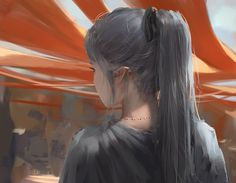 Anime picture with original ghost blade wlop long hair single ponytail grey hair pointy ears from behind back eyebrows mole outdoors eyelashes girl ribbon (ribbons) hair ribbon 3d Fantasy, Anime Fantasy, Fantasy Artwork, Character Inspiration, Character Art, Elfa, Grafiti, Ice Princess, Illustration