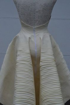 Masking tape dress inspired by manmade & organic structures; draping; creative fashion design detail // Esther Boller