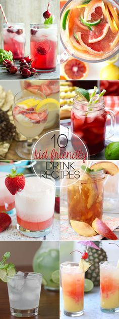 Summer is coming, and warm weather days require delicious beverages the whole family can enjoy. Relax and enjoy these 10 Kid Friendly Drink Recipes! Summer Drink Recipes, Summer Drinks, Cocktail Recipes, Cocktails, Summer Fun, Kid Drinks, Non Alcoholic Drinks, Alcoholic Punch, Ginger Ale
