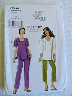 Vogue V8734 MISSES' PANTS & TUNIC TOP CUSTOM FIT A-D CUP Sizes 8-18 UC #VoguePatterns