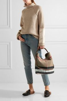 aaf079b40dd Burberry - Leather-trimmed checked canvas hobo bag. Gucci LoafersCanvas ...