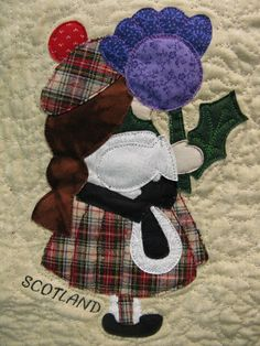 SCOTLAND Sunbonnet Sue, dressed in tartan plaids and holding a thistle, at mooseStash Quilting. Design from International Sunbonnet Sue by Debra Kimball Quilt Block Patterns, Applique Patterns, Applique Quilts, Applique Designs, Embroidery Applique, Quilt Blocks, Machine Embroidery, Paper Embroidery, Doily Patterns