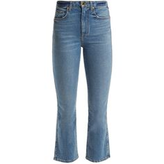 Khaite Benny mid-rise kick-flare jeans ($340) ❤ liked on Polyvore featuring jeans, pants, bottoms, denim, blue jeans, flare jeans, highwaist jeans, flared high waisted jeans and high-rise flared jeans