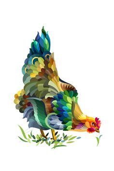 Welcome to this monthly drawing challenge - stylized animals from the Drawing Factory. Rooster Painting, Rooster Art, Geometric Drawing, Geometric Art, Art And Illustration, Paint Chip Art, Paint Chips, Chicken Art, Guache