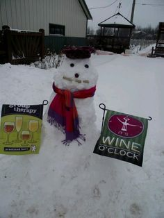 Wine Snowman with a corky smile at Holy-Field Vineyard & Winery