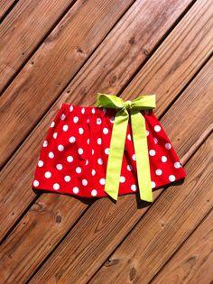 Girls Christmas skirt & fabric bow. Red white polka dot. Lime green fabric bow detail. Custom Children's clothing. By EverythingSorella. on Etsy, $28.50