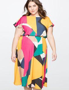 Printed Flutter Sleeve Dress from eloquii.com