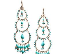 Chandelier Hoop Earrings Turquoise Chandelier Earrings