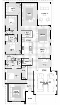 Plans house modern designs with bedroom setup dream lennox plan plansmodern small contemporary simple single story home bedrooms design front view ideas Cottage House Plans, Bedroom House Plans, Dream House Plans, House Floor Plans, My Dream Home, Floor Design, House Design, Single Story Homes, Dream House Exterior