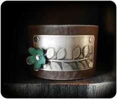 Mixed Metal Etched Leaf Leather Cuff Bracelet by CoccoJewelry, $22.50