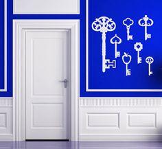 Set of Antique Keys, Skeleton Key, Vintage Keys  - Vinyl Decal, Wall Art, Vinyl Sticker, Wall Decor, Home or Office Decor via Etsy