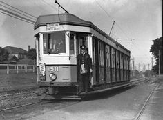 "Sydney ""toastrack"" tram no. 1511, Moore Park, June 1938 / Sam hood Sydney once had one of the largest light rail networks in the world. The last tram ran in 1961. The tram is on its way ""into town"" to terminate at Circular Quay, passing a large house on Anzac Parade"