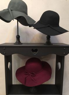 Felt hats in Burgandy, Gray and Black