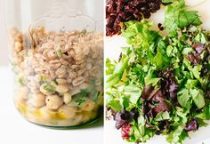 Packing tips: Dressing goes on the bottom so it stays separate from the greens. The next layer up is composed of heartier, heavier ingredients like beans and chopped vegetables. Then comes a layer of grains, which are optional, but I think they make a salad feel more like a full meal. Lastly, greens and garnishes go on top.
