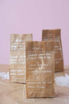 Menus and gifts made from paper