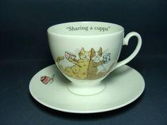 "Whittard of Chelsea ~ Anita Jeram ""Sharing a Cuppa"" Tea Cup & Saucer (bone china)"