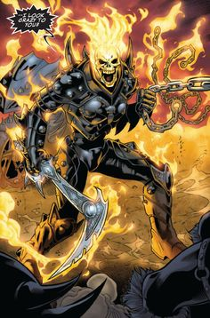 This image is of Marvel's Ghost Rider, created by Gary Friedrigh. This character…