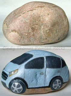 Before: large, smooth rock After: cute, silvery-blue car