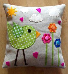 Lime funky bird cushion