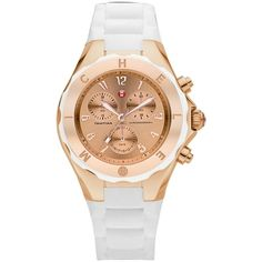 Pre-owned Nwt Michele Jelly Bean Rose Gold/ White Mww12f000030 ($248) ❤ liked on Polyvore featuring jewelry, watches, accessories, jelly watches, rose gold watches, rose gold jewelry, red gold jewelry and white wrist watch