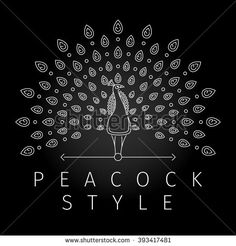 Thin line peacock logo. Outline peacock label with luxurious peacock tail…