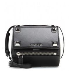 Verzierte Schultertasche Pandora Box Mini aus schwarzem Leder By Givenchy