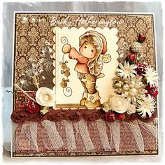 """Magnolia Christmas Card by LLC DT Member Becky Hetherington, using papers from Inkido's """"Forever Santa"""" collection."""