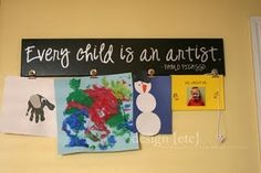 wonderful way to display a child's art