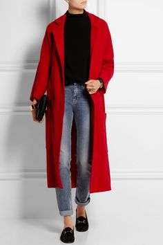 A simple combination of jeans, tee and flats spiced up with a pop of colour with this fabulous red coat