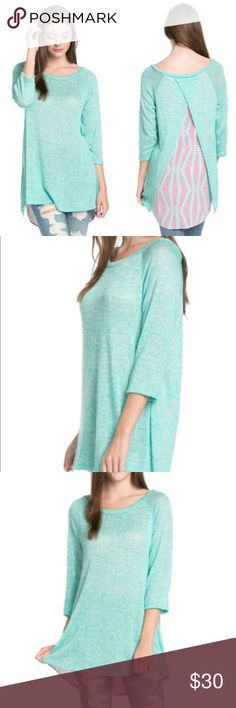 Layer Back detailed knit top Mint green and pink Layer Back detailed knit top Mint green and pink 95% polyester 5% spandex The Blossom Apparel Tops Blouses