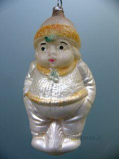 Antique Chubby Boy Glass  Christmas Ornament