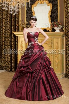 Beautiful Burgundy 15 Quinceanera Gown Dress Discount at www.quinceanera-gown-dresses.com  $:210.00(20% Off)