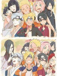Naruto, Hinata, Boruto, Himawari, Uzumaki family, Sasuke, Sakura, Sarada, Uchiha family, Mitsuki, Orochimaru, funny, Karin; Naruto