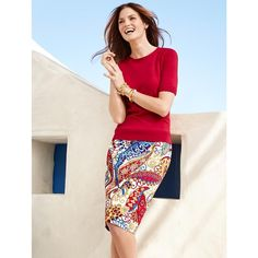 Talbots Women's Pencil Skirt : Paisley Swirls (240 BRL) ❤ liked on Polyvore featuring skirts, paisley print skirt, talbots, talbots skirts, elastic skirt and pink pencil skirt