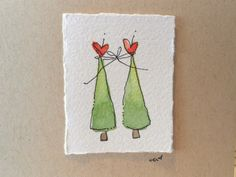 Watercolor Christmas Together In The Forest by betrueoriginals, $6.50