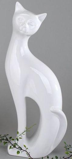 Dekofigur Katze aus Keramik weiß, stehend, 45 cm in Möbel & Wohnen, Dekoration, Dekofiguren   eBay