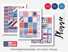 Free Printable 4th of July Weekly Planner Sticker Set {PDF, JPG and Silhouette Files} from Planner Addiction