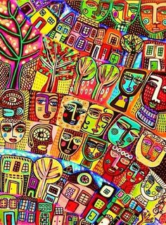 Judaica Tree of Life Houses Abstract Cubist Painting Silberzweig, $29.99
