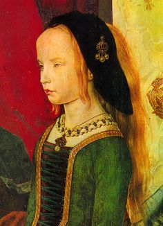 Hugo Van Der Goes 1475, - Margherita Portinari a banker's daughter of Bruges wears a green dress laced up the front with a single lace over a dark kirtle. Her hair is worn loose under a black cap with a pendant jewel, Netherlands,