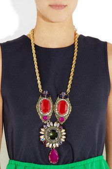 Erickson Beamon Foxy 22-karat gold-plated oversized Swarovski Crystal necklace--NEED
