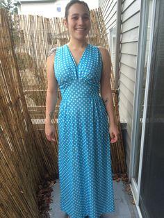 Aqua Blue & White Polka Dot Maxi Dress by YarncoreVintage on Etsy