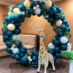 Full 8 ft balloon circle available in any color or theme for party. 8 pies de a. Balloon Garland, Balloon Arch, Balloon Decorations, Balloons, Jungle Theme Parties, Safari Theme Party, Party Themes, Healthy Birthday, Happy 1st Birthdays