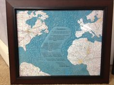 "Long distance relationship wedding gift: Lyrics from ""Transatlanticsm""between countries made from maps of the cities they commuted between"