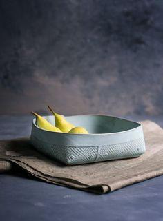 Céramique, bleu bol en céramique qui dessert, compotier moderne, lumière bleue saladier, géométrique modèle salade bol, vaisselle en céramique bleu