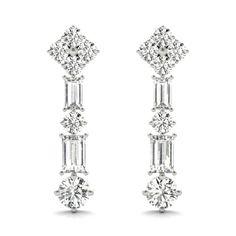 Platinum Earrings, Fancy Earrings, Sapphire Earrings, Screw Back Earrings, Wire Earrings, Chandelier Earrings, Gemstone Earrings, Earrings Handmade, Baguette