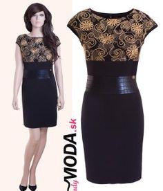 d3ce58a4c5ab Štýlove čierno-zlaté krátke spoločenské šaty puzdrového strihu v dĺžke nad  kolená. -trendymoda