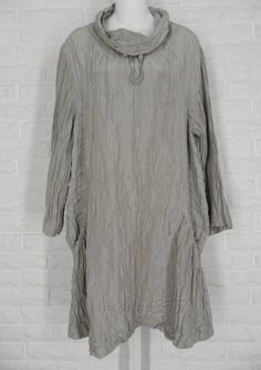 GRIZAS Linen Silk Ruched Cowl Neck Shirt Tunic Taupe NWT Ladies Large #Grizas #Tunic #Casual