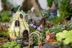 Gourd House  Fairy Troll or Gnome Home Cottage  - Woodland Miniature Fairy Garden Dollhouse Diorama accessories